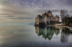 Chteau de Chillon (Philippe Saire || Photography) Tags: lake reflection castle water architecture canon landscape eos switzerland eau suisse lac 1855mm chillon paysage lman chteau reflets hdr gettyimages photomatix 450d topazadjust philippesaire magiayfotografia soeep