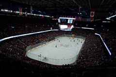 Pengrowth Saddledome (Dbennison) Tags: camera city trip travel people canada david cold calgary hockey nhl big crazy saddledome pentax random flames ducks ab busy alberta da rink fans f28 cowtown bennison hockeyrink pengrowthsaddledome pengrowth k20d 1650mm