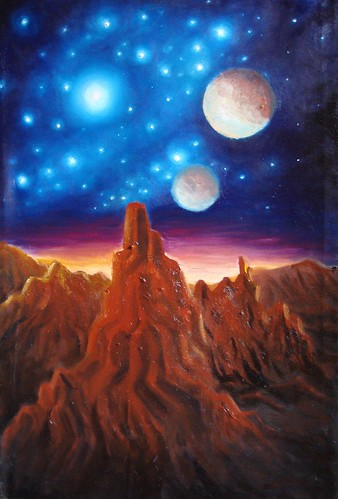 Alien mountains and stars, oil on canvas painting