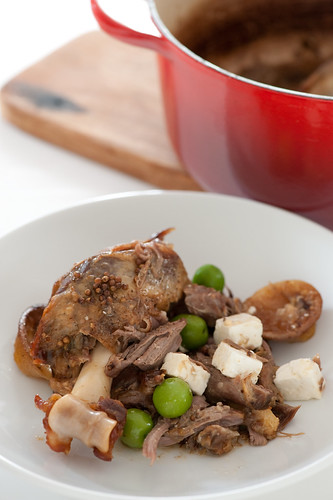 pot roast lamb shoulder with lemon, feta & olives