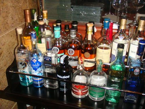 Carrito de licores y destilados
