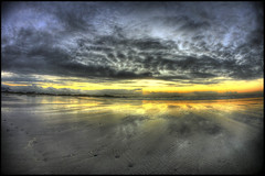 kleinbaai_3 (smee.bruce) Tags: sunset red sky beach clouds photoshop canon reflections wideangle fisheye 5d hdr cs4 blouberg photomatix kleinbaai 3exp
