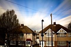 1st Daytime Long Exposure, With Welders Glass - 61/365 (Simon Wicks) Tags: longexposure houses windows sky tree clouds doors wind daytime telegraphpole phonelines weldingglass efs1855mmf3556is