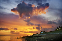 Beautiful dawn (adrians_art) Tags: sea sky cloud beach water sunrise coast kent shore groynes isleofsheppey sheerness