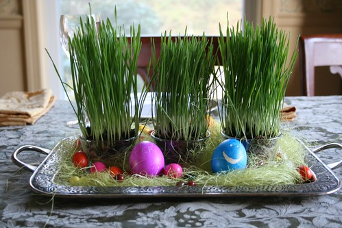 Easter centerpiece with wheatgrass