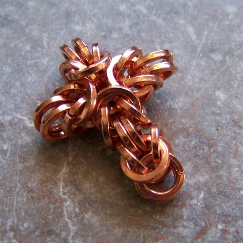 Copper chainmaille cross pendant