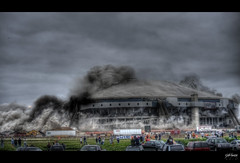 Texas Stadium Implosion (Cliff_Baise) Tags: cowboys fire star dallas football stadium smoke helmet superbowl deathstar implosion jerryjones
