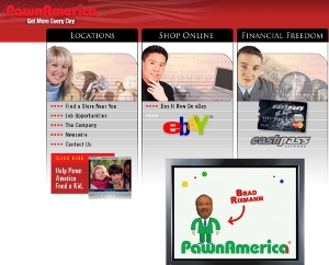 A screenshot of www.pawnamerica.com, Pawn America's website. It is divided into easily to navigate sections, including their eBay store.