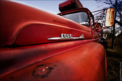 fire truck_7858 (sheke1) Tags: auto old red orange ontario canada ford truck fire rust decay kerry hills sheppard wreckers halton mcleans sheke1