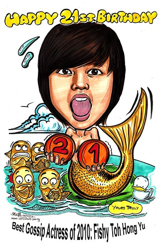 mermaid caricature of Fishy Toh A3 (with text)