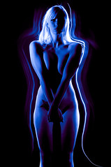 Seismic Glow (willhollis) Tags: longexposure blue light shadow woman lightpainting sexy art colors beautiful tattoo female pose dark naked nude model breasts purple body gorgeous hips figure blonde flashlight form 365 fineartnude artisticnude flashlightpainting lightwriting torchpainting emilycarey