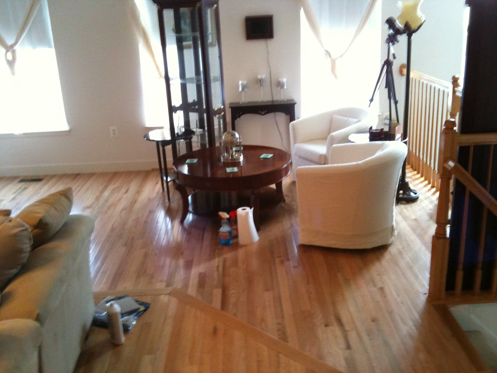 Moving around furniture as they do the hardwood floors