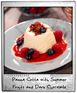 Simple Panna Cotta with summer fruits and dark chocolate