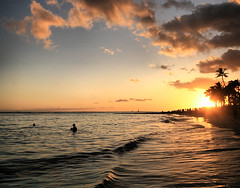 Aloha (` Toshio ') Tags: ocean sunset people cloud sun reflection beach water silhouette gold hawaii golden sand colorful surf pacific waikiki oahu crowd wave tourists palmtrees hawaiian honolulu aloha hdr highdynamicrange mahalo toshio platinumphoto anawesomeshot flickrdiamond
