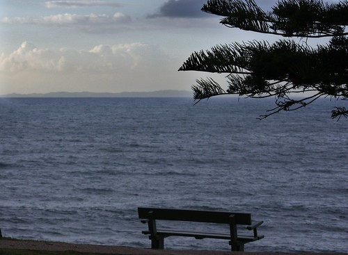 park bench beside sea
