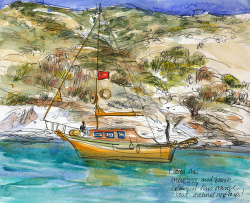Turkey, orange sailboat