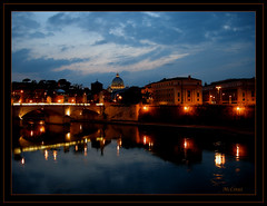 Riflessi sul fiume. (mclinus) Tags: rome roma reflections river fiume bynight cupola tiber tevere sanpietro riflessi notturno colorphotoaward mclinus