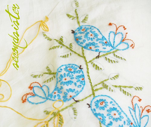 Birds on a branch Embrodiery