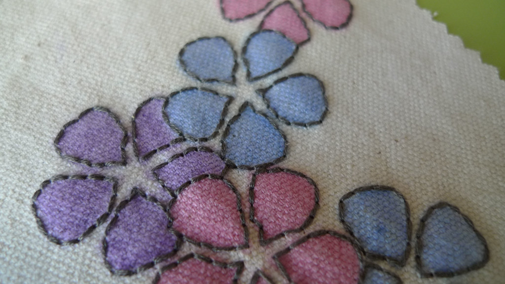 colorful flower embroidery detail
