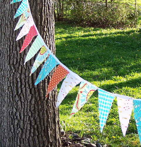Bunting in the wind