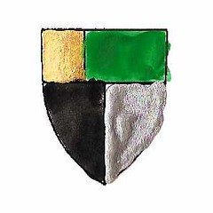 Per pale sable and argent, on a chief vert a canton or