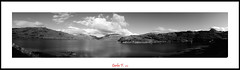 Panoramic view of Loch Glendhu (black & white) (Carlos F1) Tags: bw white mountain lake black byn blanco water lago scotland highlands agua nikon view unitedkingdom united negro scottish kingdom escocia panoramic bn panoramica vista loch montaa reino unido reinounido d300 escoces kylesku glendhu scotlanda