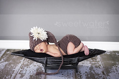 m a d i s u n (Jaime Baldwin) Tags: portrait baby flower cute girl beautiful floor naturallight indoor newborn elfhat diapercover barnwoodmat