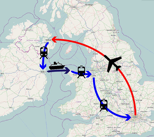 plane versus train and ferry for london to belfast