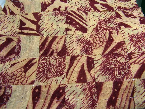 fabric weaving with old indian print skirt (by gramarye)