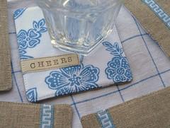 reversible coasters | summer blue (Cozy Memories) Tags: summer handmade linen coasters reversible vintagetrim cottonprint cozymemories