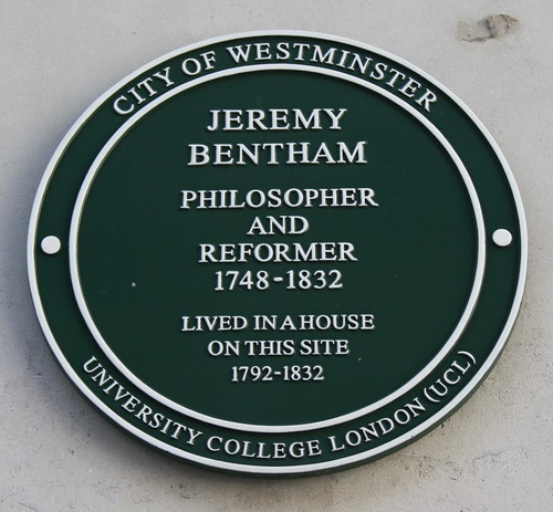 Jeremy Bentham plaque. By Christian Liits