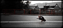Suicide Shot (rsn4ke) Tags: road red white black color colour mobile nokia dangerous europe phone shot suicide cell center line frame slovakia framing middle vignetting vignette adrenaline selective 8gb colorisation n95 colourisation streed trenn