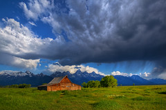 "Morning storm over Tetons & Moulton Barn (IronRodArt - Royce Bair (""Star Shooter"")) Tags: ranch park wood old morning travel summer panorama usa mountain mountains west building history tourism clouds barn america sunrise landscape hole farm united rustic north scenic meadow rocky peaceful peak grand row jackson national valley western nostalgic thunderstorm homestead mormon states wyoming grandtetons teton tetons majestic range settlement tetonrange moulton grandtetonnationalpark mormonrow antelopeflats moultonbarn"