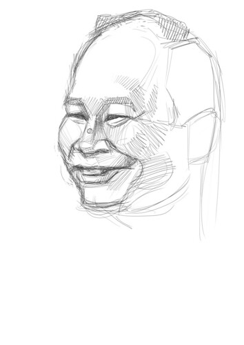 digital sketch of John Woo - 1