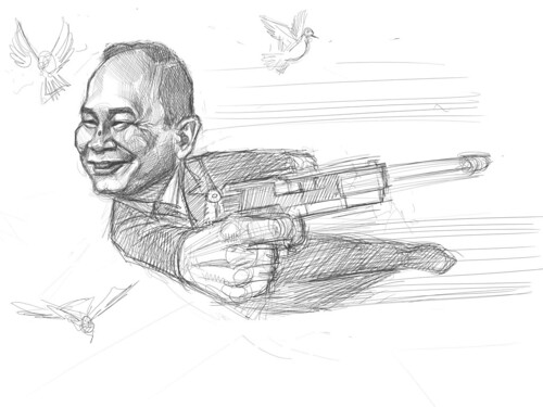 digital sketch of John Woo - 3