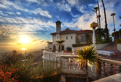 Sunset at Hearst Castle (Stuck in Customs) Tags: world california statepark ranch travel blue sunset sky usa house west castle architecture digital america garden photography design coast blog high dynamic stuck pacific terrace balcony united north january azure property landmark historic patio processing imaging williamrandolphhearst hearstcastle states mansion guest lush centralcoast sanclemente range hearst brilliant hdr tutorial trey guesthouse travelblog customs 2010 ratcliff hdrtutorial stuckincustoms theenchantedhill treyratcliff lacuestaencantada stuckincustomscom nikond3x