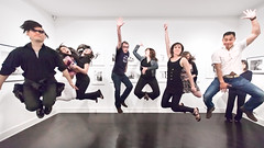 homage to the godfather of jump photos (sgoralnick) Tags: show friends amber jump jumping kat gallery chad beth lori tribute marty grammar jumpology philippehalsman phillipckim laurencemillergallery