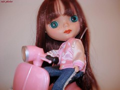 LuLu on her pink scooter