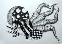 Strapped Down (Jo in NZ) Tags: blackandwhite ink drawing doodle zentangle nzjo zendoodle