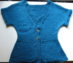 Teal Flutter-Sleeve Cardigan Flat View, Front