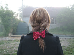 (Sofi Anne) Tags: red girl barn self hair bow derelict plait hairbow