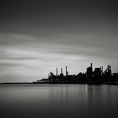 Zug Island (Jeff Gaydash) Tags: longexposure blackandwhite water square industrial detroit greatlakes riverrouge lakescapes zugisland steelmill nd110