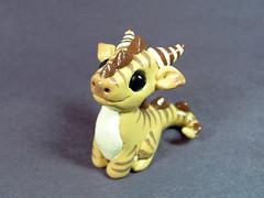Striped Dragon (DragonsAndBeasties) Tags: cute yellow dragon cream fantasy gift etsy custom bg beastie beccagolins