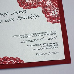 Red Vintage Antique Lace Wedding Invitation (Shanon Medley Designs) Tags: pink blue winter wedding red summer flower fall floral modern vintage watercolor menu spring whimsy thankyou bright ben lace antique turquoise lexington kentucky ky painted victorian georgetown savethedate invitation card program designs chic calligraphy elegant custom shanon planner bold medley shabby