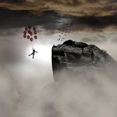 [フリー画像] グラフィックス, フォトアート, 人と風景, 岩山, 風船, 201006091300