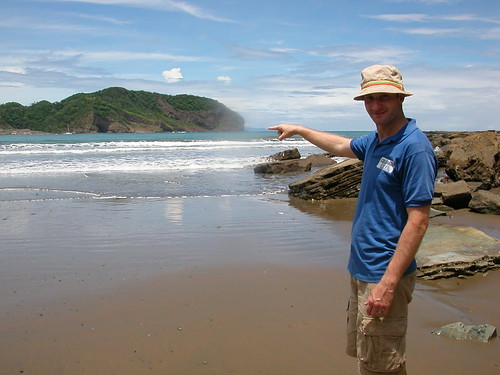 June 4 2010 Lee pointing to Costa Rica, San Juan Del Sur