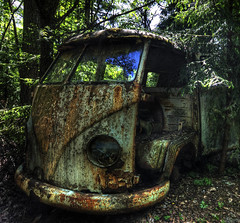 Fillmore from Cars, 30 years later (Maron) Tags: wood old cars abandoned broken car yellow forest woods rust sweden rusty junkyard hdr tcksfors supermarion tcksfors marionnesje twphch twphch057