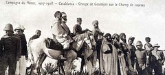 French Colonial Postcard - Casablanca 1907-08 - Moroccan Goumiers and Officers in the Field (ronramstew) Tags: france french army war battle morocco maroc empire imperial marocco casablanca marruecos campaign troops marokko colony 1900s officers colonialism goumiers darbeida lemaroc