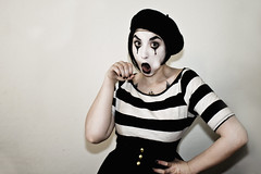 Mime Blow Job (Raquel Van Nice) Tags: portrait white black girl make up sex tattoo funny paint invisible joke clown stripe blow grease porn beret job mime