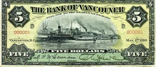 Bank of Vancouver $5 note serial no. 1
